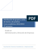 Distribucion grupos por aulas teoria y practica GADE -2012-2013- 2o SEMESTRE.pdf