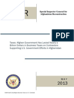 Inspector General's Report on Taxation of U.S. Contractors in Afghanistan