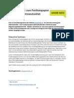 Stellungnahme auf RTR-Positionspapier zur Netzneutralität