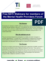 NDTi and MHPF Webinars on Mental Health 2013