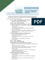 Programa e horários do V Simpósio de Psicossomática Psicanalítica