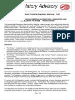 Regulatory Advisory for