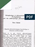 00_153 Métaphysique et phénoménologie - Prolégomènes pour une anthropologie phénoménologique