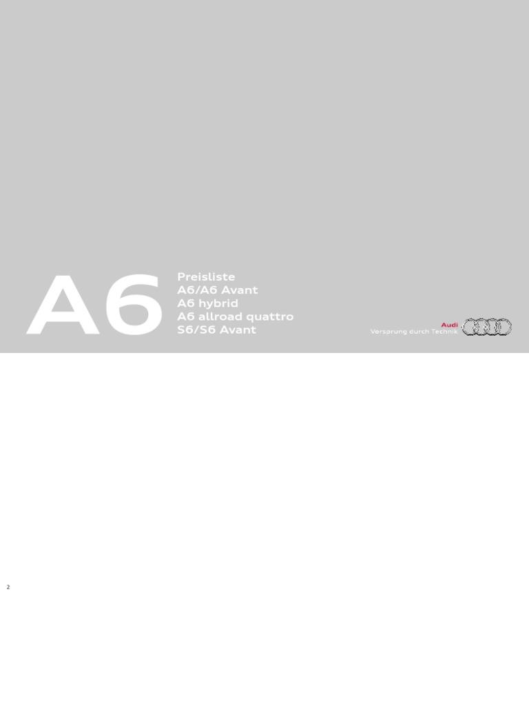 Audi A6 & S6 Price List (Germany, 2013)