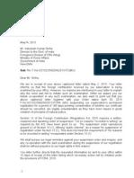 Letter to FCRA Dept - INSAF response