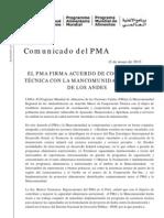 PMA Firma Acuerdo Marco Con Comunidad Regional de Los Andes