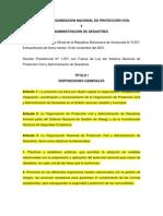 LEY DE LA ORGANIZACION NACIONAL DE PROTECCIÓN CIVIL