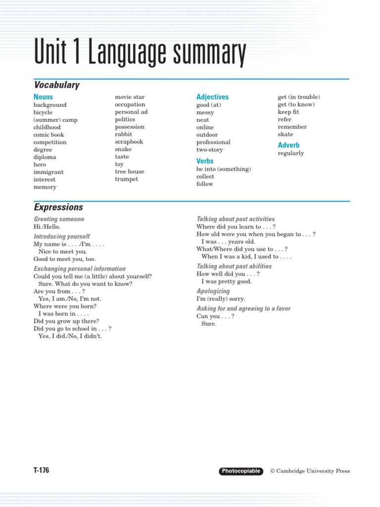 Workbooks interchange fourth edition online workbook : Unit Language Summary (Interchange 2)   Adjective   Adverb