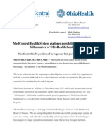 Letter of Intent between MedCentral and OhioHealth, May 14, 2013