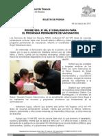 04/03/11 Germán Tenorio Vasconcelos Recibe SSO 87 mil 975 biológicos para programa permanente de vacunación