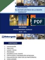 Informe I Foro de Electricidad Huanuco_22.07.11