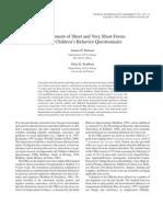 CBQ Development of Short Form