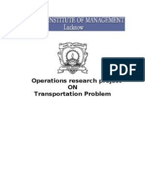 Operation research Project Transportation | Linear