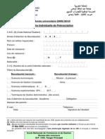 Fiche de Pre Inscription 09 10