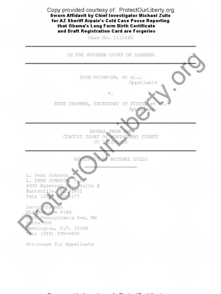 Sworn Affidavit By Az Ccp Investigator Michael Zullo Obama Id Docs