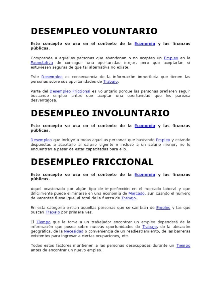 DESEMPLEO VOLUNTARIO