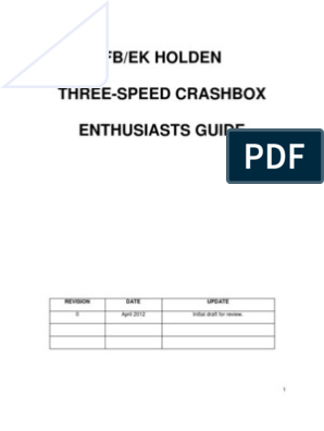 FB/EK HOLDEN THREE-SPEED CRASHBOX ENTHUSIASTS GUIDE | Manual
