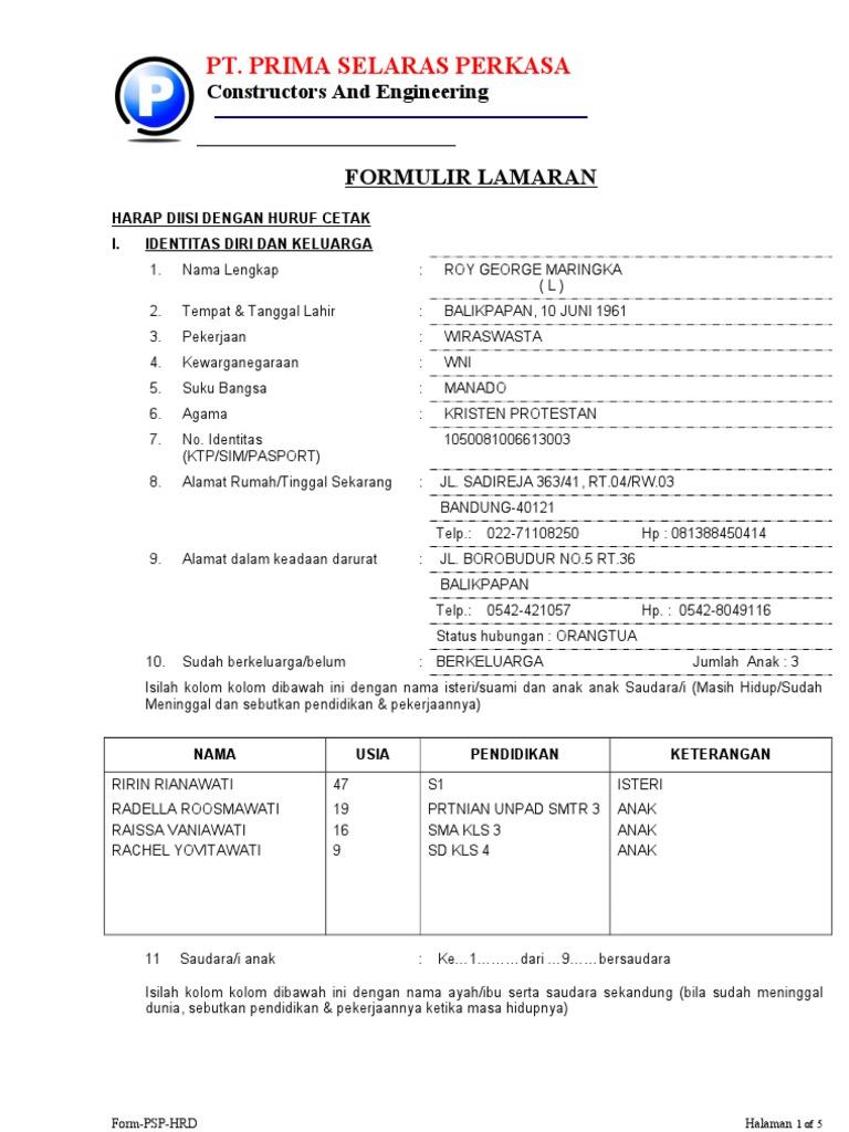 Formulir Lamaran Kerja 1