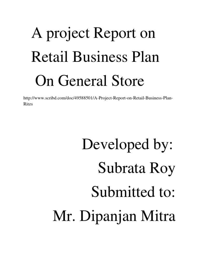 project report on retail