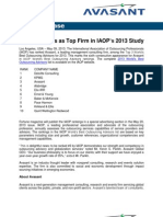 Avasant Ranks as Top Firm in IAOP's 2013 Study