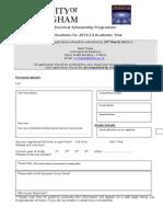 2013 14 Application Form U21 PhD Scholarship