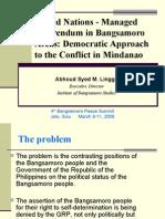 United Nations - Managed Referendum in Bangsamoro Areas