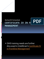 Certificate IV in Frontline Management-Meeting OHS Training Needs