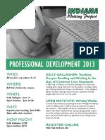 Indiana Writing Project Professional Development 2013