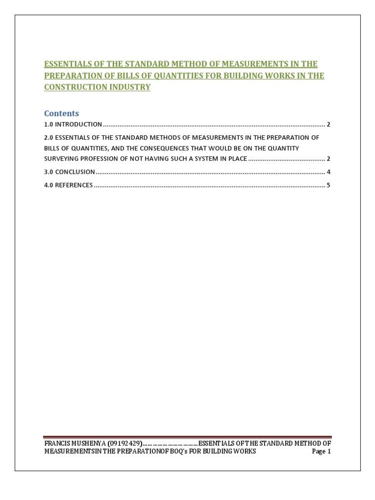 The standard methods of measurements for building works in the the standard methods of measurements for building works in the construction industry esb 300cx surveying measurement falaconquin