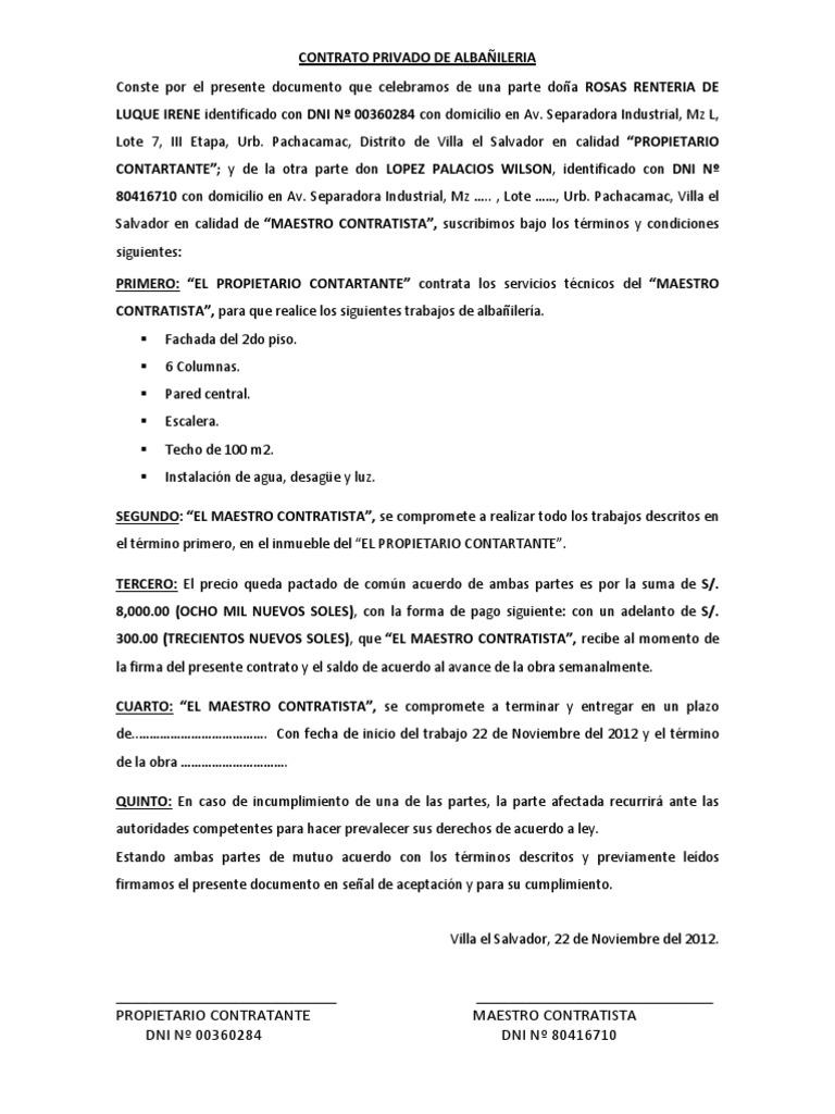 Contrato privado de alba ileria for Contrato trabajo indefinido servicio hogar familiar
