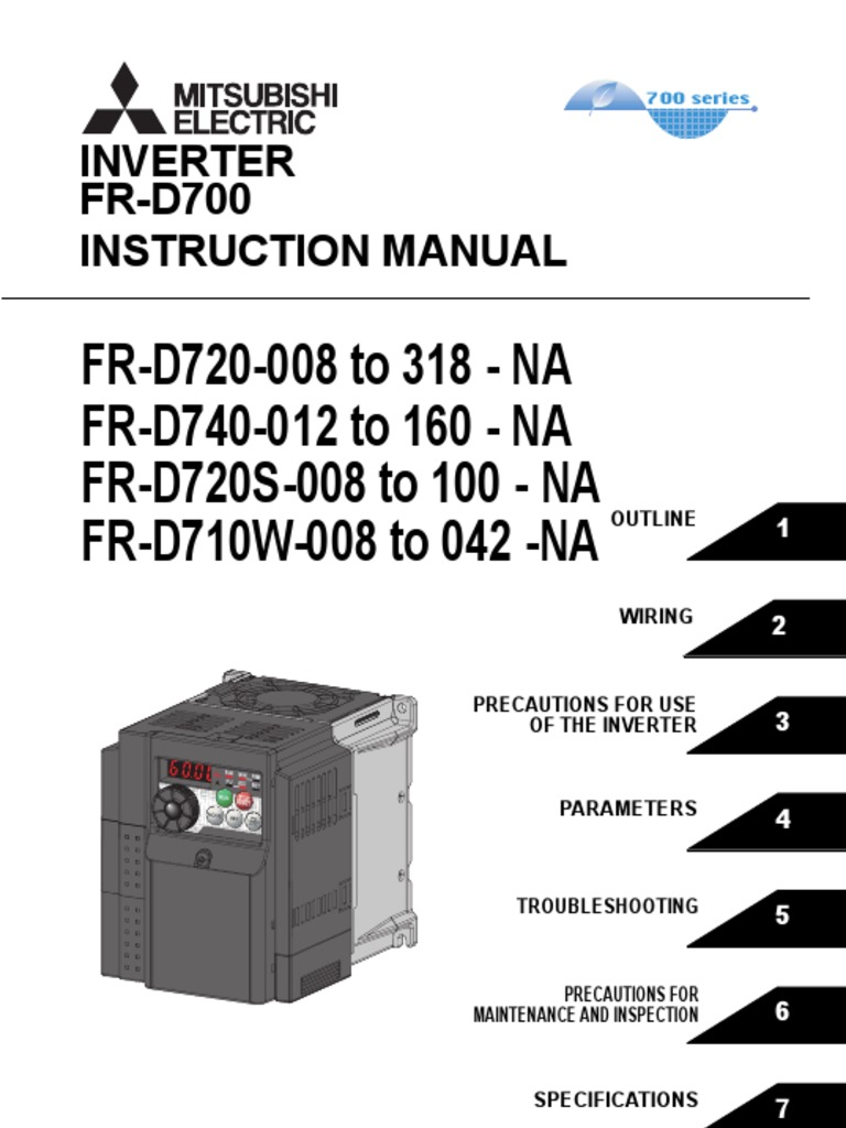 Mitsubishi D700 Variable Frequency Drive Instruction Manual   Power  Inverter   Power Supply