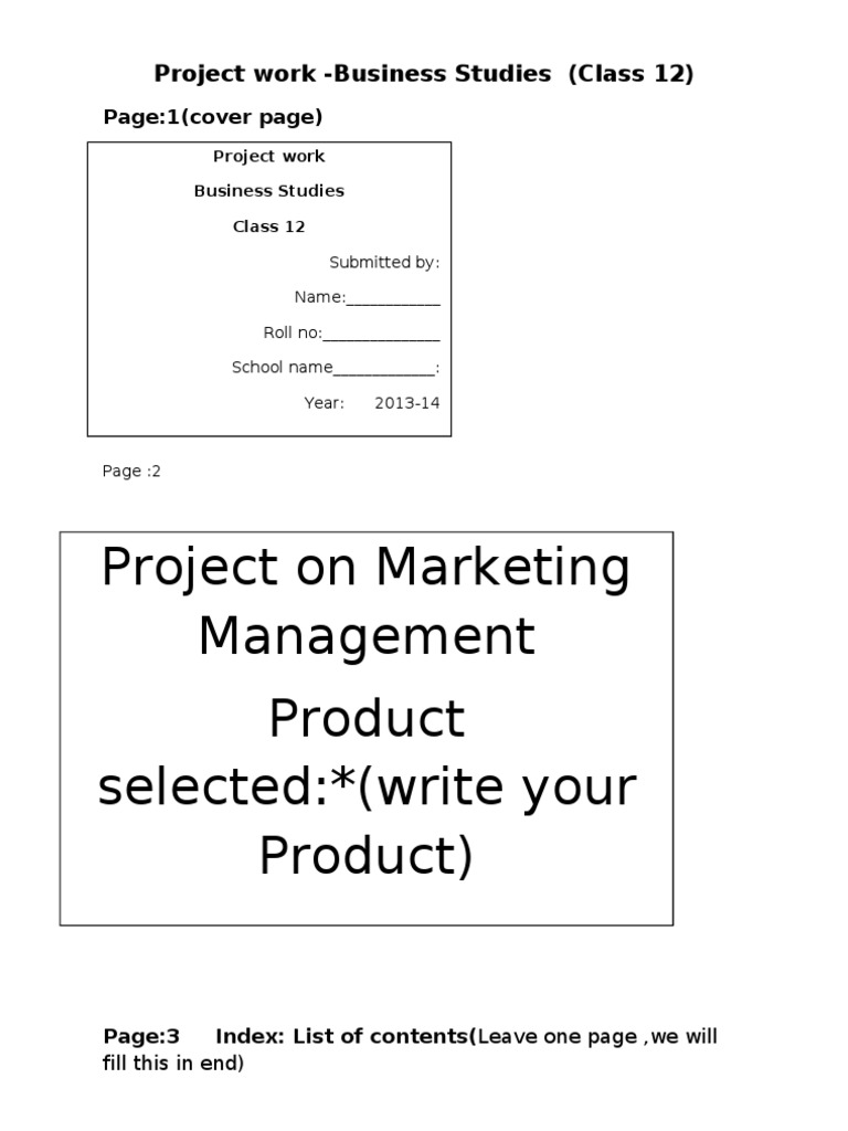 Cbse Guidelines For Business Studies Project Class Xi Xii