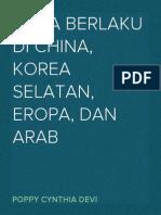 Etika-etika Yang Berlaku Di China, Korea Selatan, Eropa, Arab