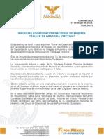 """INAUGURA COORDINACIÓN NACIONAL DE MUJERES """"TALLER DE ORATORIA EFECTIVA"""""""