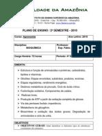 Plano de Ensino 2010-2 Bioquímica (Cerejeiras)