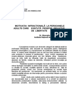 Motivatia Infractionala La Persoanele Adulte Care Executa Pedepse Privative de Libertate - Studiu