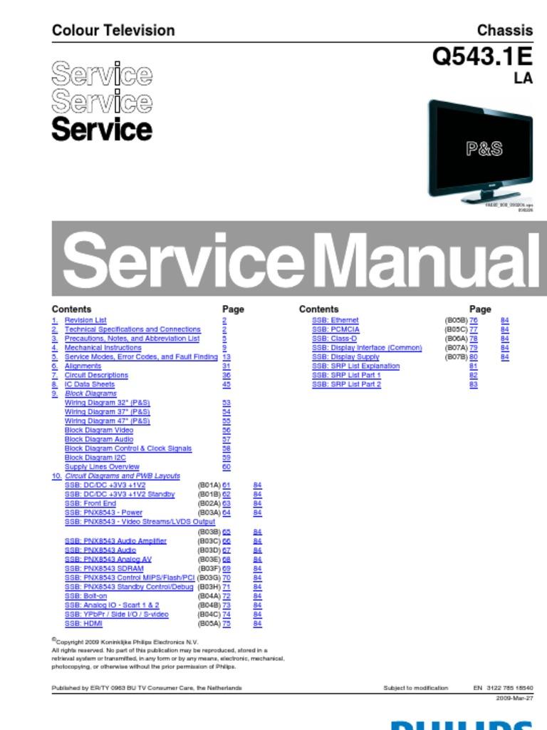 philips q543 1e la chassis lcd hdmi digital television rh scribd com