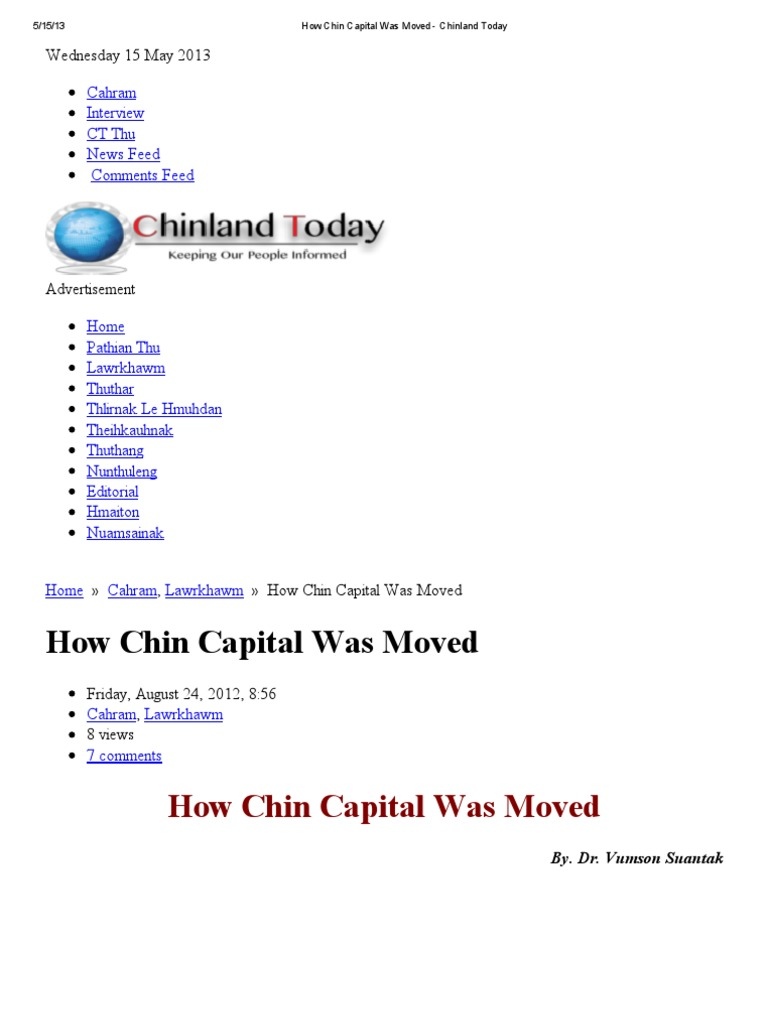 how chin capital was moved chinland today commissioner
