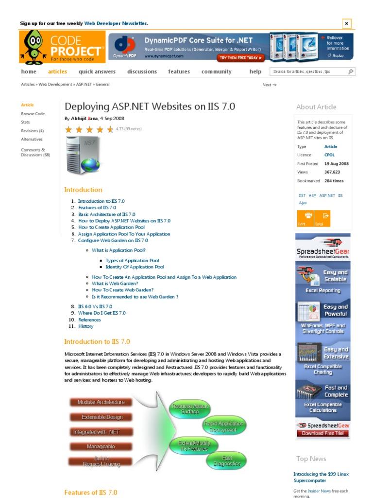 Deploying ASP net Websites on IIS 7 0 | Internet Information