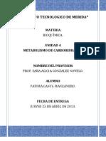 Unidad 4 Metabolismo de los Carbohidratos. Fátima Canul Manzanero
