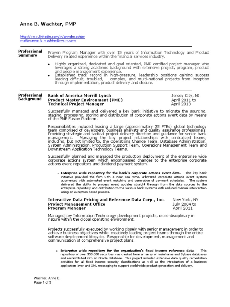 Project Manager Financial Services Director In New York Ny Resume