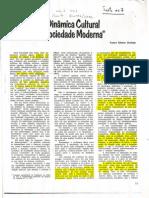 DURHAM, E.R. A dinâmica cultural na sociedade moderna