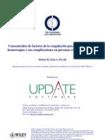 Concentrados de Factores de La Coagulacion - Prevencion Hemofilia a y B
