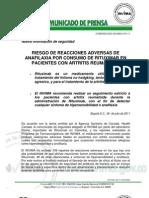 Comunicado Invima 013 11 Riesgo de Reacciones Adversas de Anafilaxia Por Consumo de Rituximab en Pacientes Con Artritis Rematoide