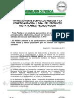 Comunicado Invima 020 11 Invima Advierte Sobre Los Riesgos y La Comercializacion Ilegal Del Producto Fruta Planta Reduce Weigth