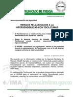 Comunicado Invima 026 10 Riesgos Relacionados a La Hipersensibilidad Con Tocilizumab