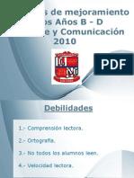 Acciones mejoramiento Lenguaje 2010