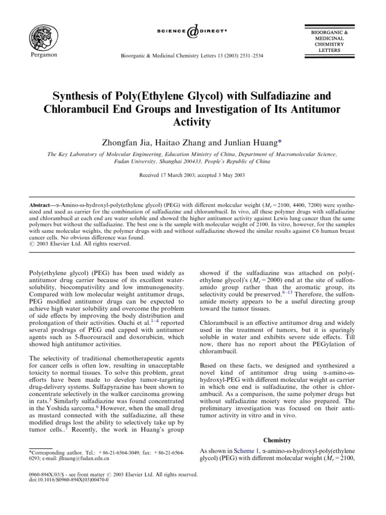 2003 Synthesis of Poly(Ethylene Glycol) With Sulfadiazine