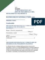 PRECISIONES METODOLÓGICAS Y CURRICULARES DE DESARROLLO DEL PENSAMIENTO FILOSÓFICO