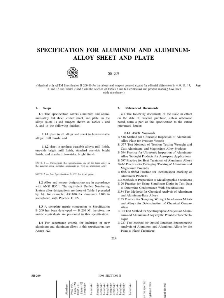 asme2b sb-209 | Sheet Metal | Strength Of Materials
